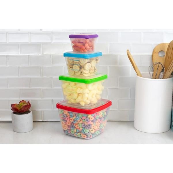 Home Basics 8 Piece Nesting Plastic Food Storage Container Set With Multi Color Snap On Lids Hdc55011 The Home Depot