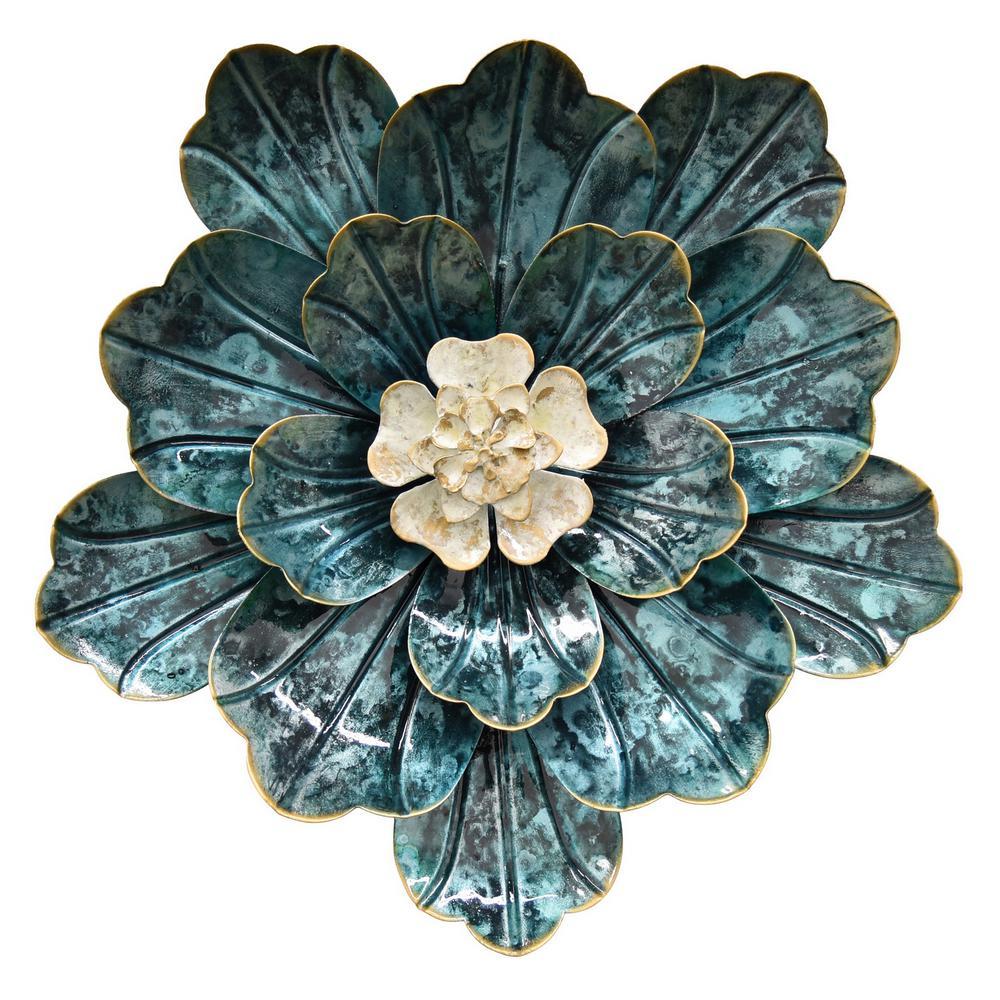 11 in. Metal Flower Wall Decor in Blue