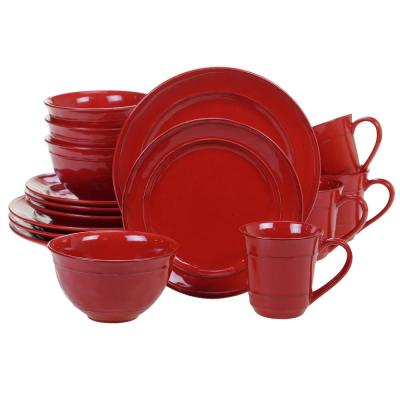 Orbit 16-Piece Red Dinnerware Set