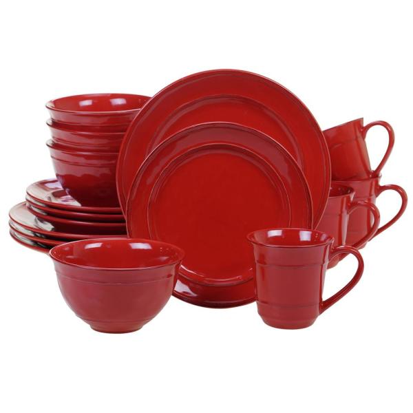 Orbit 16-Piece Traditional Red Ceramic Dinnerware Set (Service for 4)