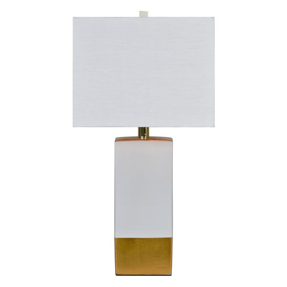 Renwil le smoking 245 in white and gold table lamp lpt630 the white and gold table lamp geotapseo Gallery