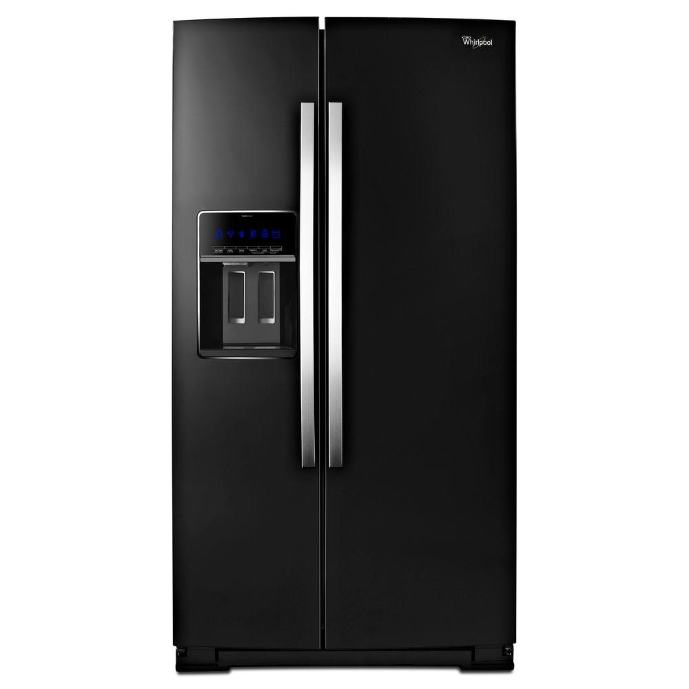Whirlpool 36 In W 19 9 Cu Ft Side By Refrigerator Black