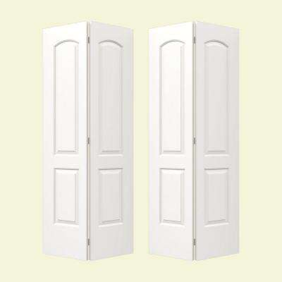 72 in. x 80 in. Continental White Painted Smooth Molded Composite MDF Closet Bi-fold Door
