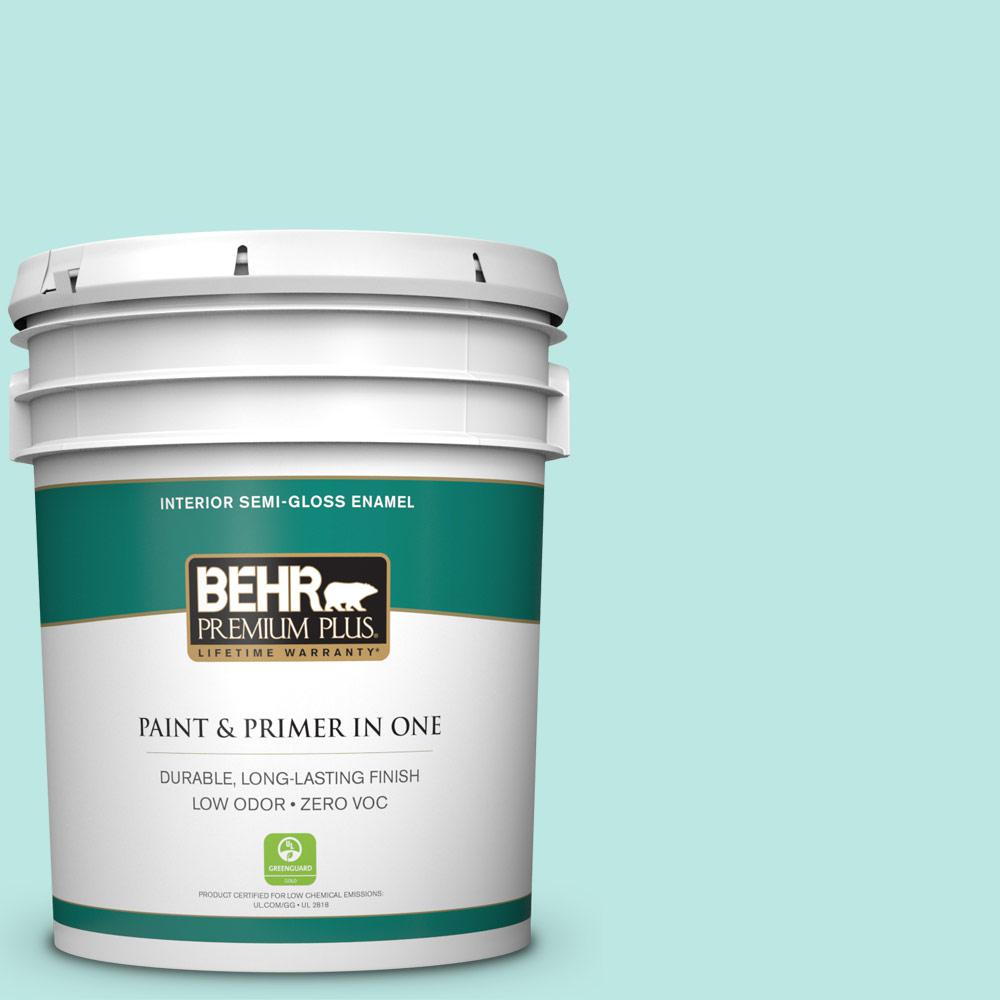 5-gal. #490A-2 Cool Jazz Zero VOC Semi-Gloss Enamel Interior Paint