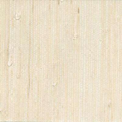 Martina White Grasscloth White Wallpaper Sample