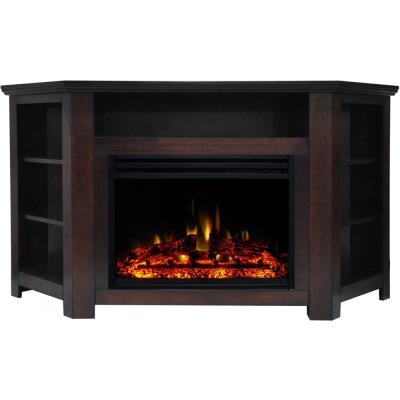 Stratford 59 in. Electric Fireplace Heater TV Stand in Mahogany Corner Enhanced Display, and Remote