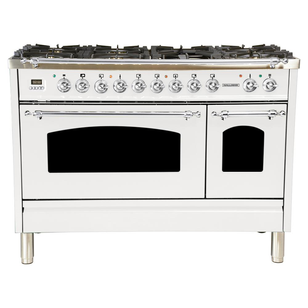 Hallman 48 in. 5.0 cu. ft. Double Oven Dual Fuel Italian Range with True Convection, 7 Burners, Griddle, Chrome Trim in White