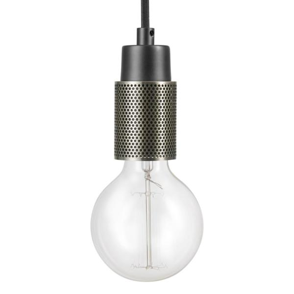 Antique Brass Perforated Detail Socket 15ft Black Cloth Cord Globe Electric Finchley 1-Light Plug-In or Hardwire Pendant Dark Bronze Vintage-Style Bulb Included 65981