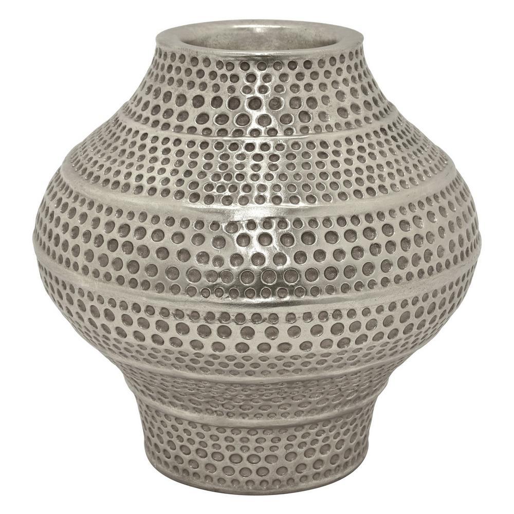 14.25 in. Resin Silver Vase