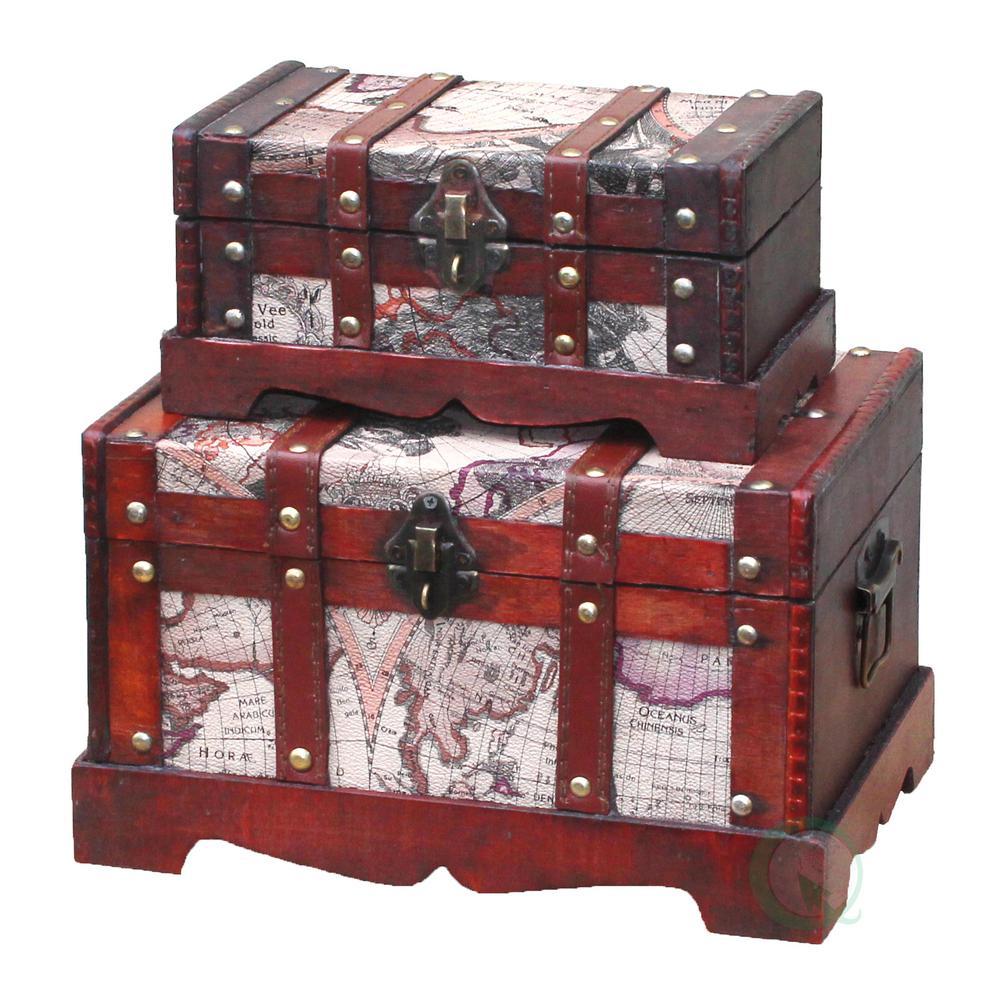 Vintiquewise Antique Cherry Storage Trunk QI003037.2
