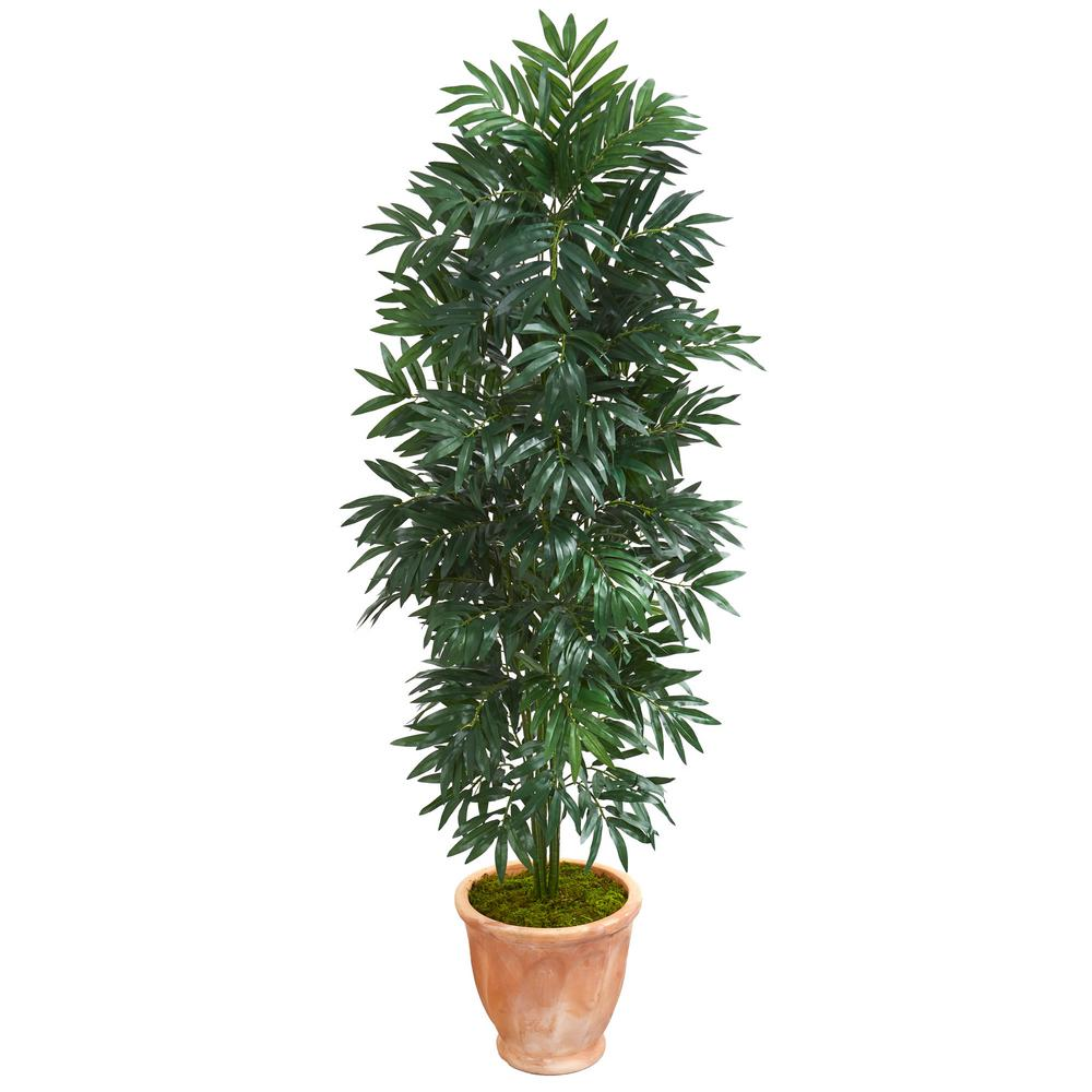 Indoor 5 ft. Bamboo Palm Artificial Plant in Terra Cotta Planter
