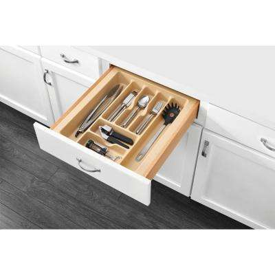2.375 in. H x 17.5 in. W x 21.25 in. D Large Almond Cutlery Tray Drawer Insert