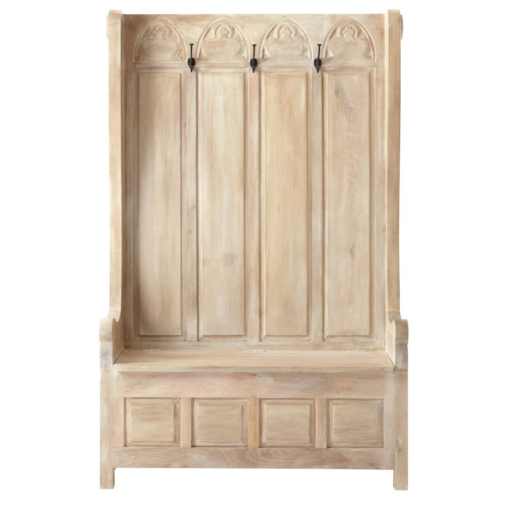 Home Decorators Collection Church Pew Whitewash Hall Tree 9904800410 The Home Depot