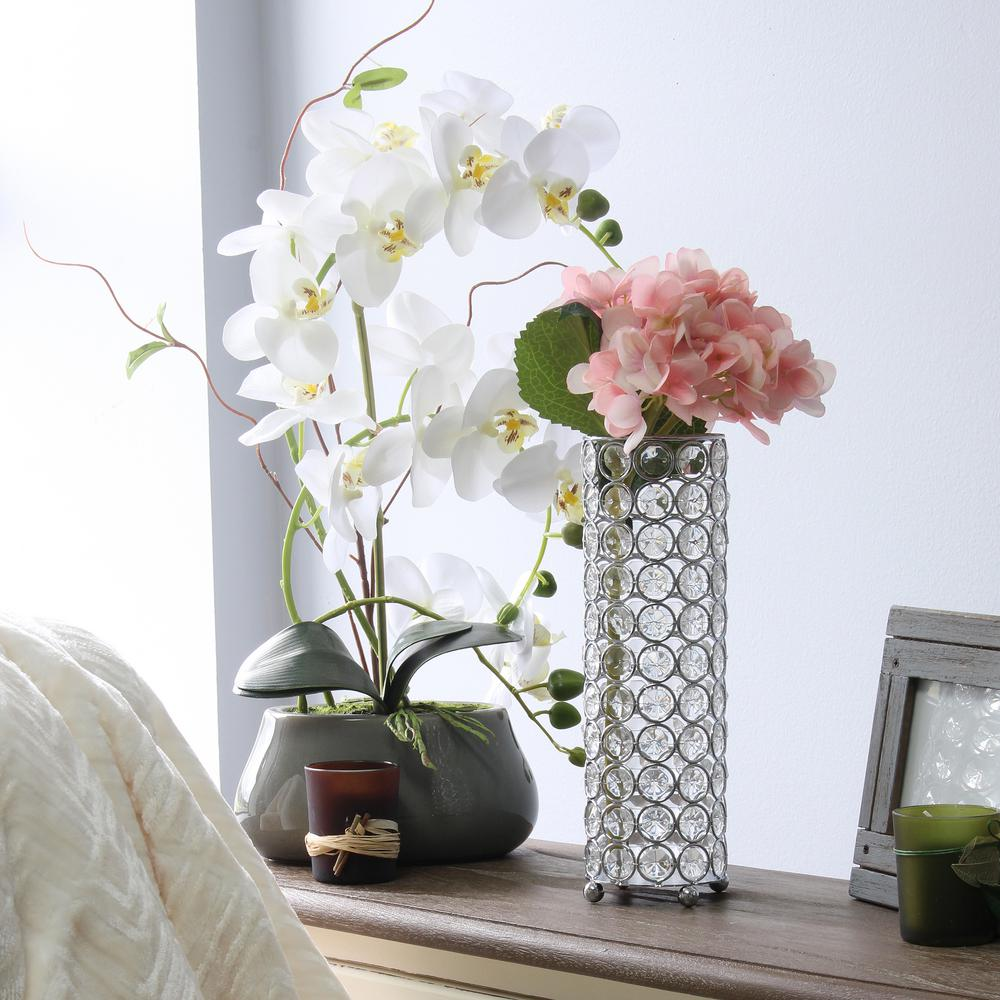 Elegant Designs 10 25 In Chrome Elipse Crystal Decorative Flower Vase Candle Holder Wedding Centerpiece Hg1011 Chr The Home Depot