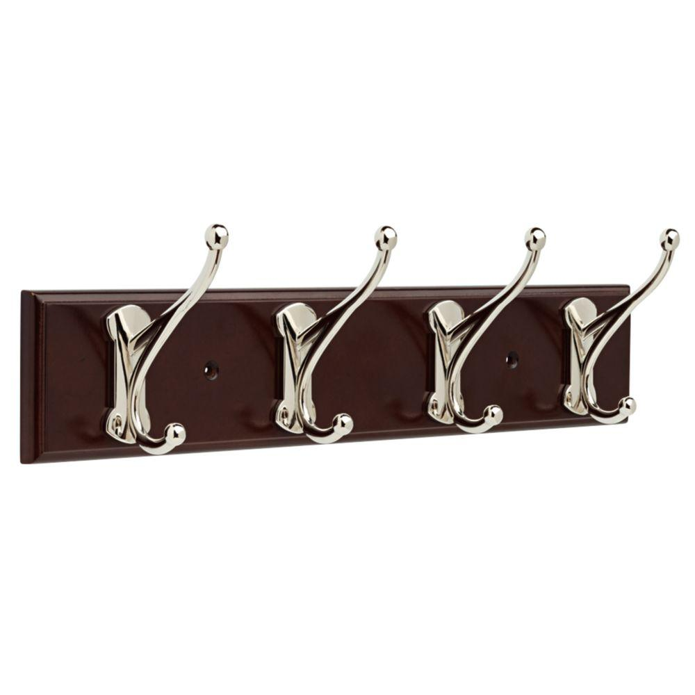 Windom 16 in. Espresso and Polished Nickel Hook Rack, Brown/Polished Nickel