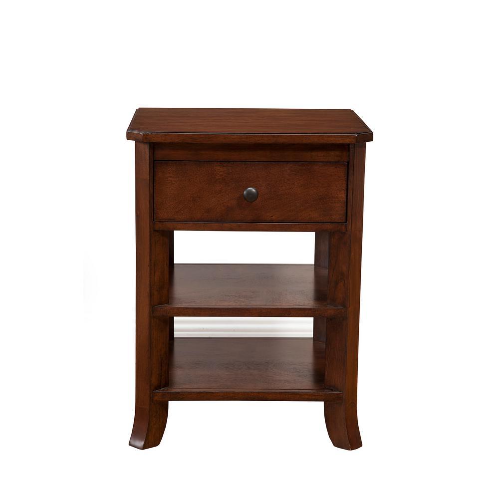 Baker 1-Drawer, 2-Open Shelves Mahogany Nightstand