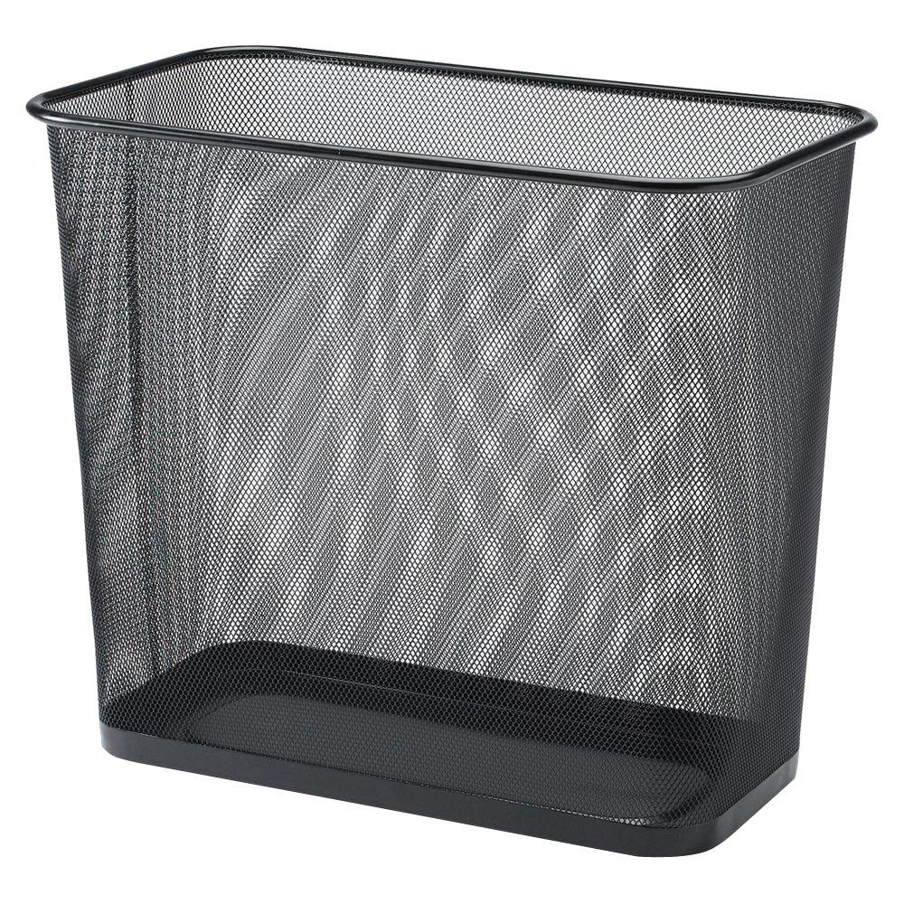 Lorell 7.9 Gal. Black Rectangular Steel Mesh Trash Can