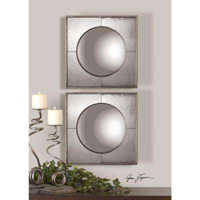 15.75 in. x 15.75 in. Convex Silver Framed Mirrors (Set of 2)