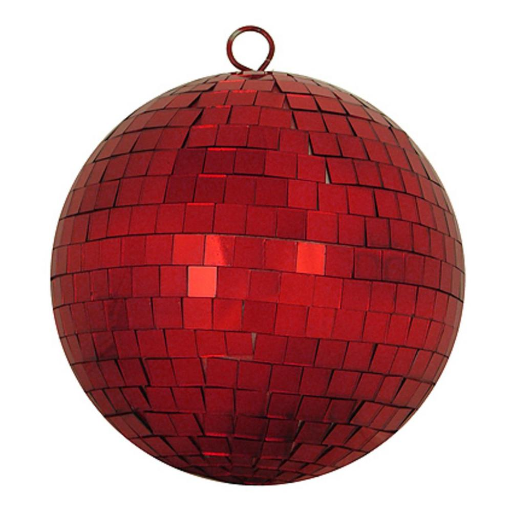Shiny Red Hot Mirrored Glass Disco Ball Christmas Ornament