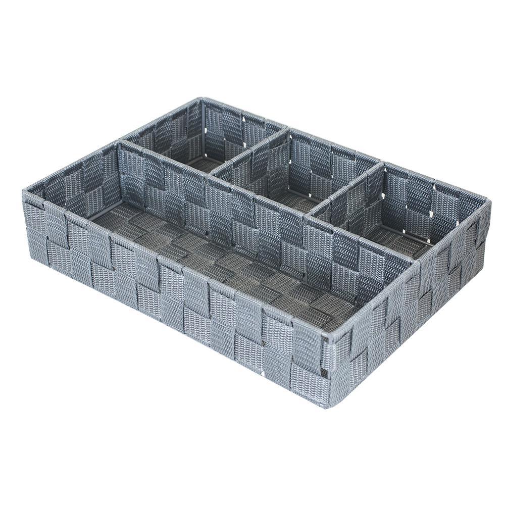 9.5 in. x 13 in. Grey 4-Cube Organizer