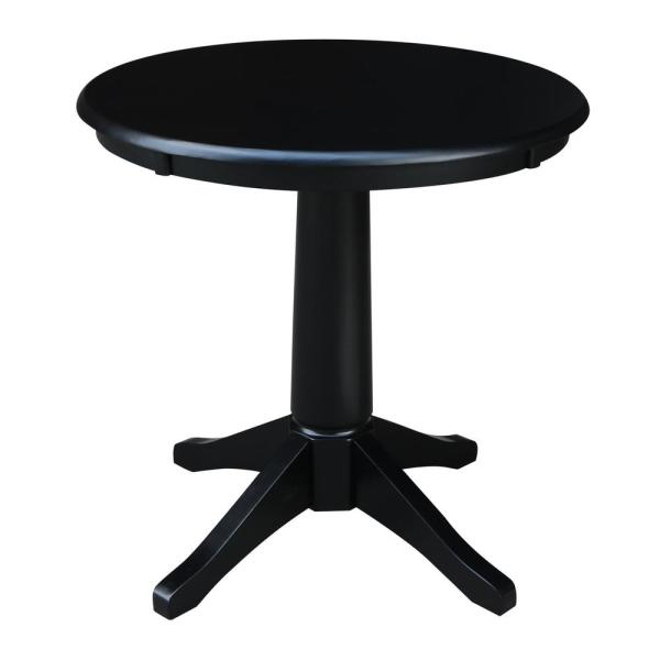Olivia Black 30 in. Round Solid Wood Dining Table