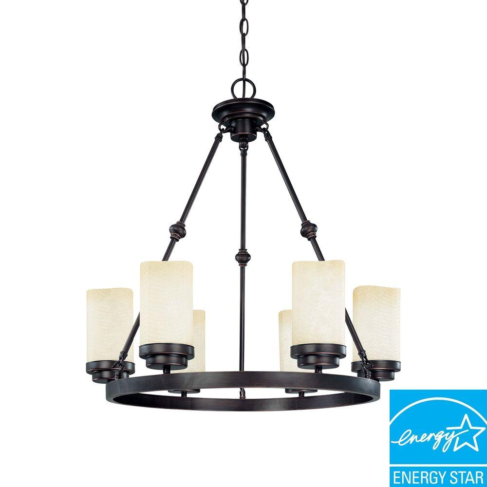 Glomar Lucern Collection 6-Light Hanging Patina Bronze Chandelier-DISCONTINUED