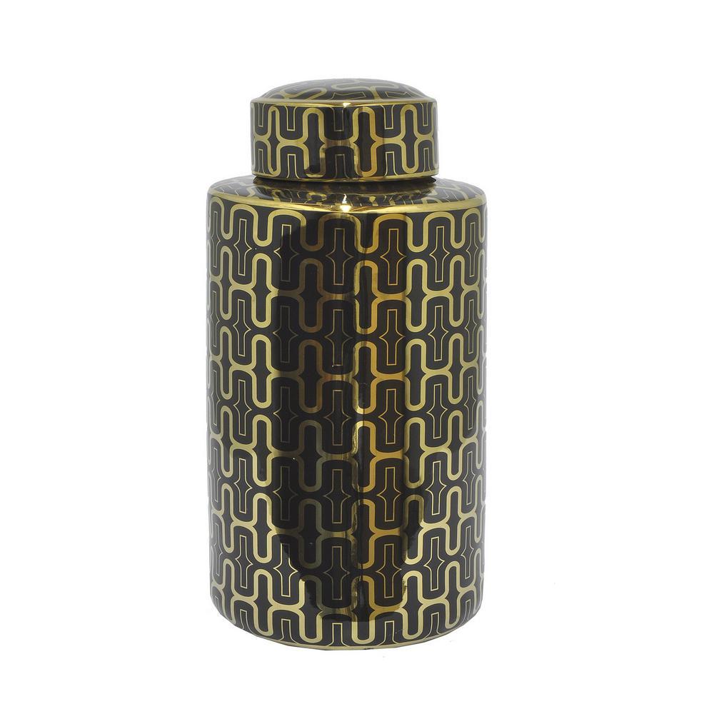 Black and Gold Ceramic Jar