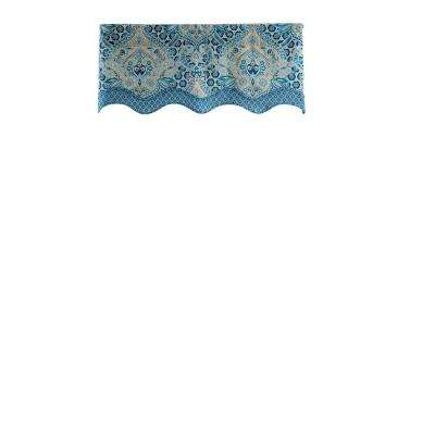 Moonlit Shadows Wave Cotton Window Valance in Lapis - 52 in. W x 18 in. L