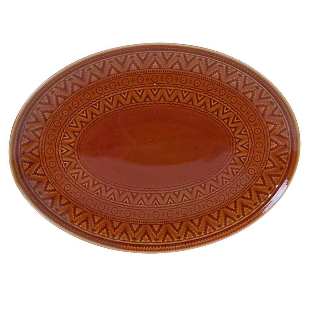15.75 in. Multi-Colored Stoneware Aztec Rust Oval Platter