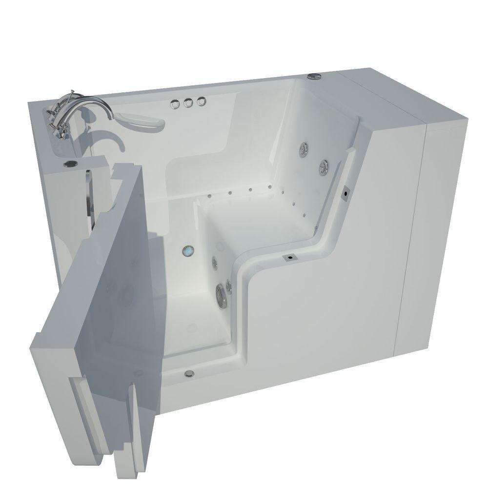 Universal Tubs 4.5 ft. Left Drain Wheel Chair Accessible Whirlpool and Air Bath Tub in White