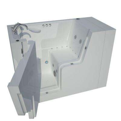 4.5 ft. Left Drain Wheel Chair Accessible Whirlpool and Air Bath Tub in White