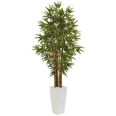 Indoor Bamboo Artificial Tree in White Tower Planter