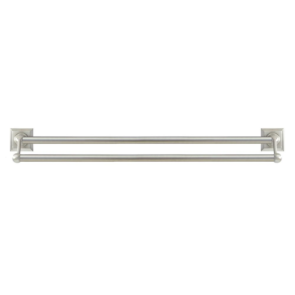Modona Square 24 In Double Towel Bar In Satin Nickel 8024d Sn The Home Depot
