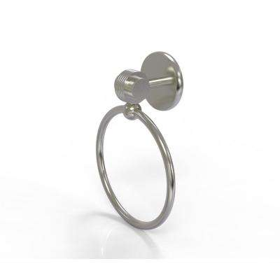 Satellite Orbit Two Collection Towel Ring with Groovy Accent in Satin Nickel