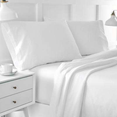 Urban Edgelands T200 3-Piece White Organic Cotton Twin Sheet Set