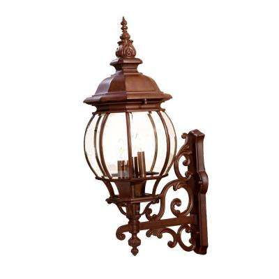 Chateau Collection 4-Light Burled Walnut Outdoor Wall-Mount Light Fixture