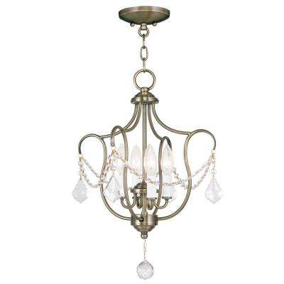 Providence 4-Light Antique Brass Incandescent Ceiling Semi-Flush Mount Light Convertible Pendant