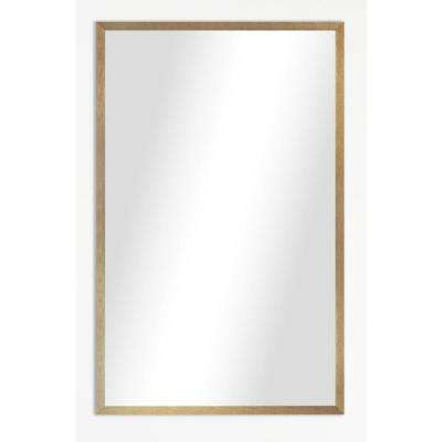 34.125 in. x 28.125 in. Tuscan Linen Amber Metal Framed Beveled Vanity/Wall Mirror