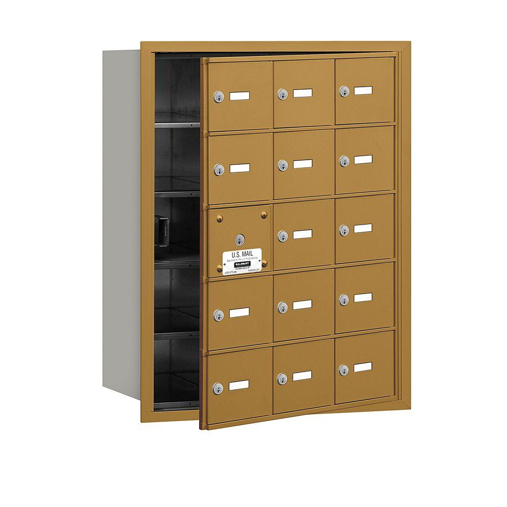 Gold USPS Access Front Loading 4B Plus Horizontal Mailbox with 15A