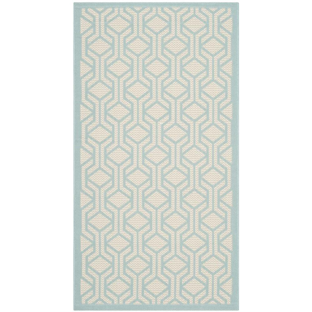Safavieh Courtyard Beige Aqua 3 Ft X 5 Ft Indoor Outdoor Area Rug