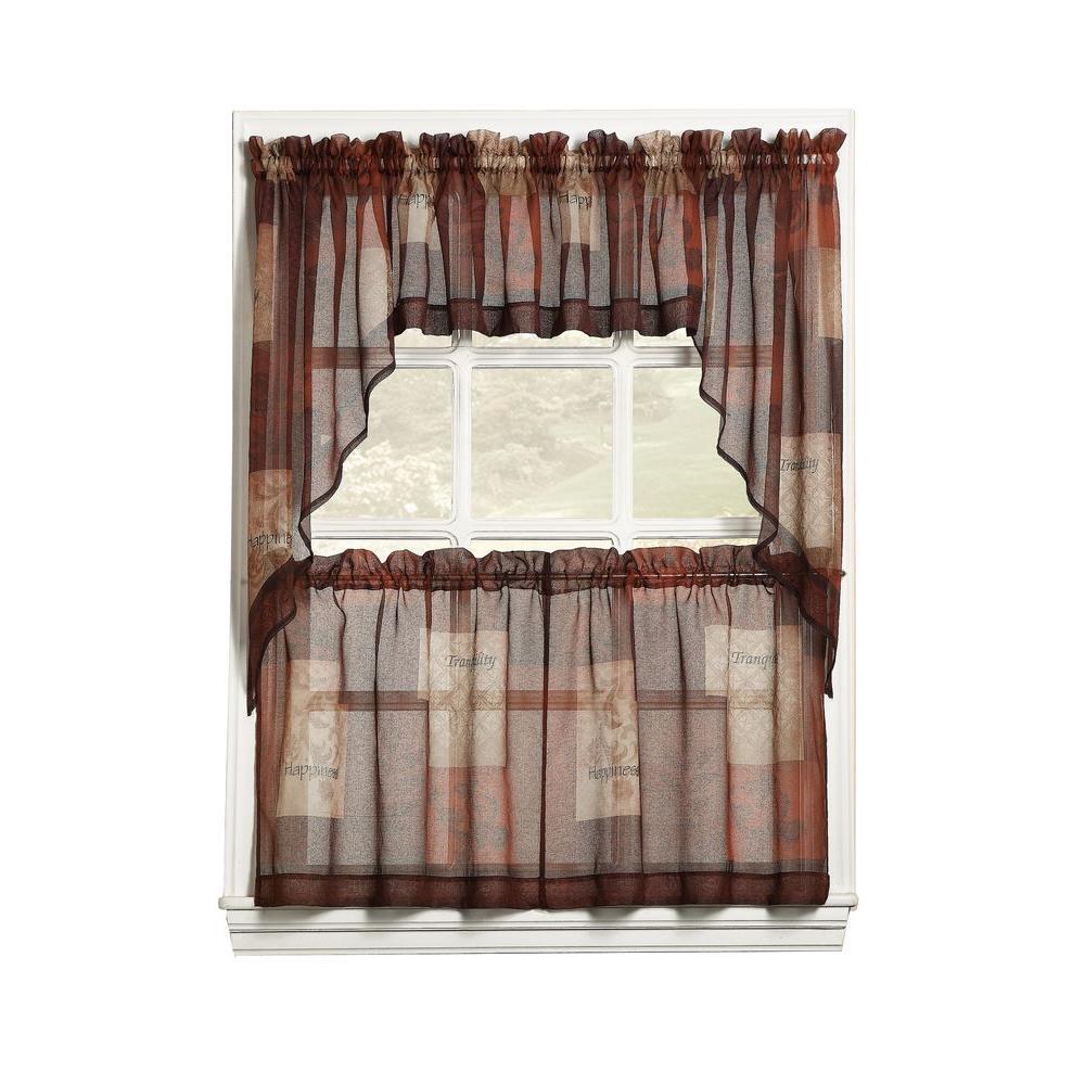 LICHTENBERG Sheer Multi Eden Printed Textured Sheer Kitchen Curtain Tiers,  56 in. W x 24 in. L