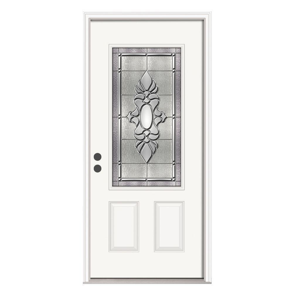36 in. x 80 in. 3/4 Lite Langford Primed Steel Prehung Right-Hand Inswing Front Door w/Brickmould