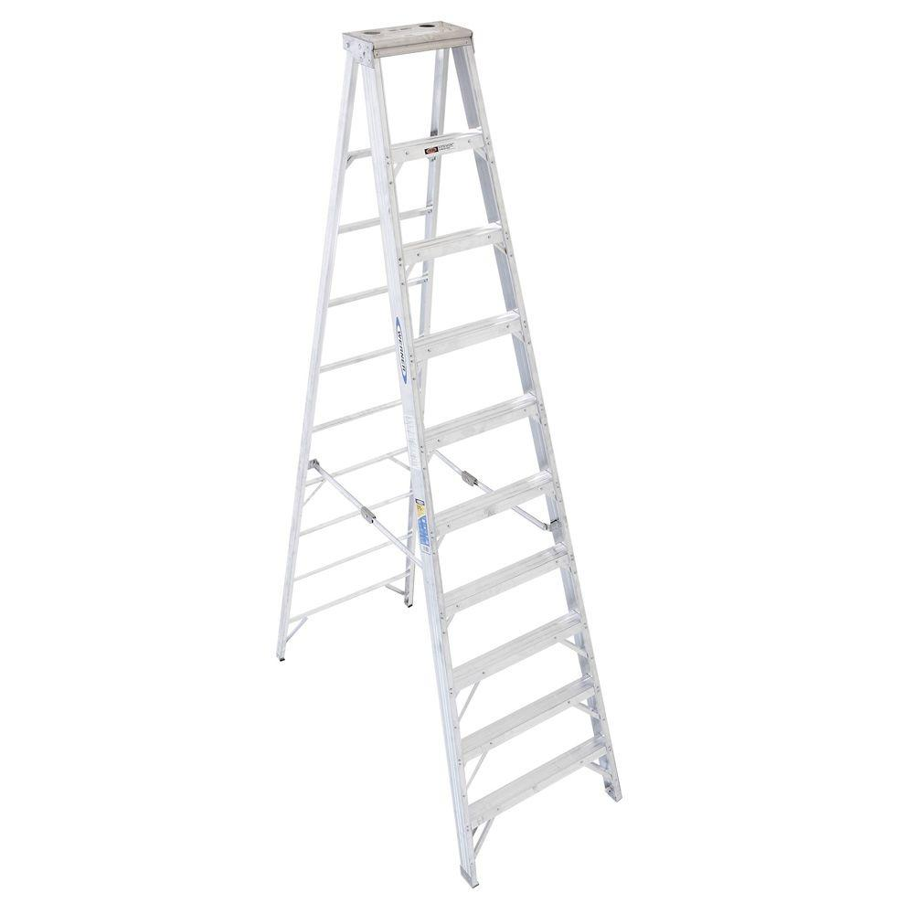 WERNER 10 Ft. Aluminum Step Ladder With 375 Lb. Load