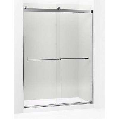 Levity 59.625 in. W x 82 in. H Frameless Sliding Shower Door in Bright Polished Silver