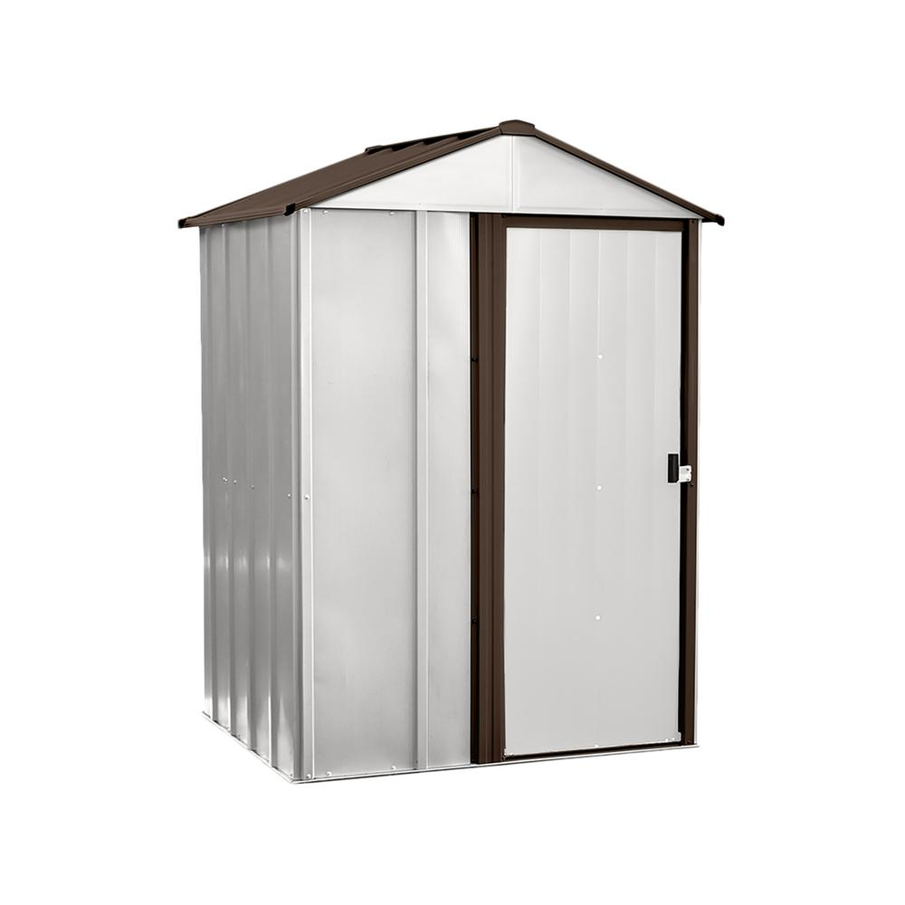 Arrow newburgh 5 ft x 4 ft x 6 5 ft eggshell coffee for Garden shed 5 x 4