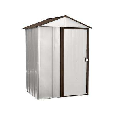 5 ft. W x 4 ft. D x 6.5 ft. H Newburgh Galvanized Steel Storage Shed in Eggshell/Coffee with Pad-Lockable Sliding Doors