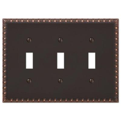 Antiquity 3 Gang Toggle Metal Wall Plate - Aged Bronze