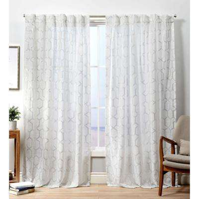 Panza HT Winter Silver Sheer Hidden Tab Top Curtain Panel - 54 in. W x 96 in. L (2-Panel)
