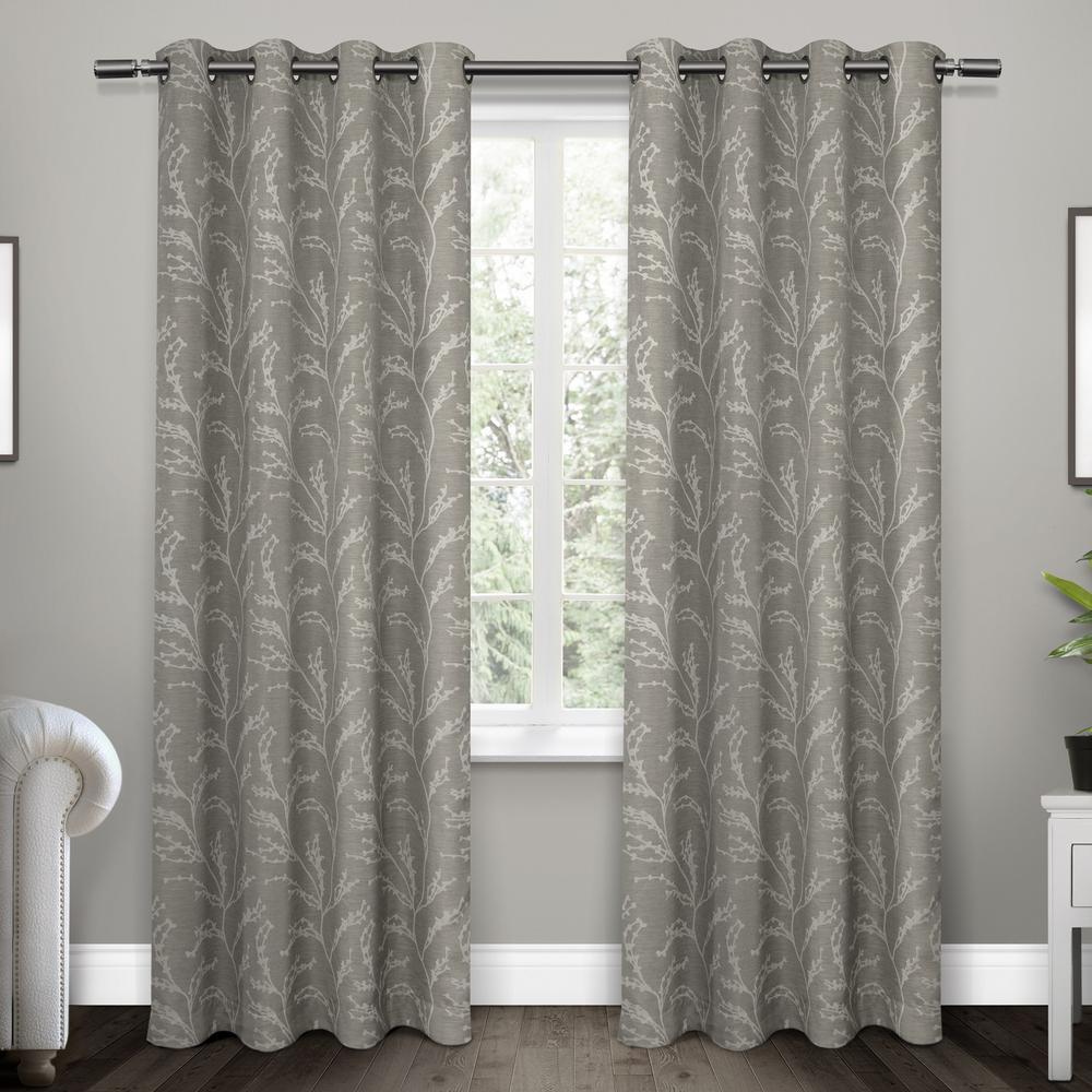Kilberry Ash Grey Woven Blackout Grommet Top Window Curtain