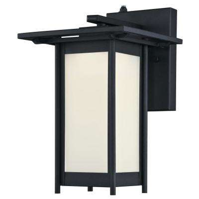 Clarissa LED 1-Light Textured Black Outdoor Integrated LED Wall Mount Lantern with Dusk to Dawn Sensor